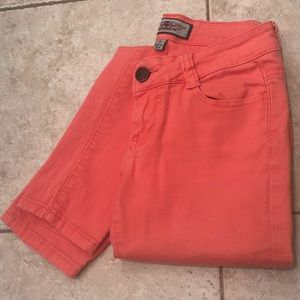 Pants - Coral colored skinny jeans